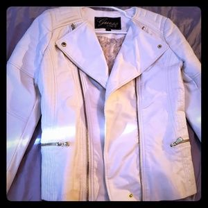 Guess! White Leather Jacket